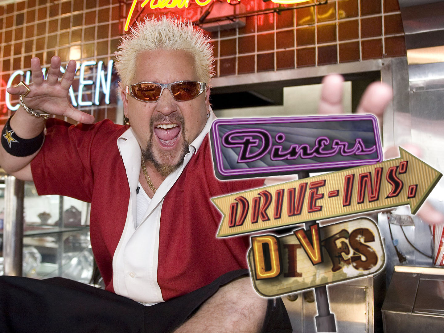 "Diners, Drive-ins And Dives Host:  Guy Fieri  Scott Brinegar/©2007 Food Network 3/4/07  Diners, Drive-ins And Dives Diners, Drive-ins And Dives Are Popular Again Thanks To Faithful Baby Boomers, A Slew Of Younger Fans And A Whole New Generation Of Owners. Join Guy Fieri As He Visits Some Of These Classic ""greasy Spoon"" Spots, From A Shack On The Side Of The Road In Tarpley, Texas To A Vegas Sports Bar With Stellar Stromboli."